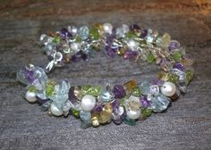 Gemstone Bracelet, Silver Bracelet, Peridot Purple Amethyst, natural stones green pink ooak wedding statement jewelry fashion accessory