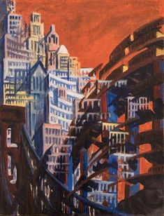 International Modernism: Art in a Fast-changing World — Minneapolis Institute of Art Louis Lozowick American (born Russia), New York, Street Bridge, 1922 Oil on canvas Russian American, American Art, Social Realism, Constructivism, Minneapolis, New Art, Art Museum, Illustrators, Oil On Canvas
