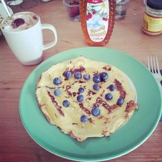 Blueberry pancakes with coffee