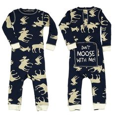 The Blue Classic Moose Infant Onesie Flapjacks fit like a glove with the snugness you'll love! Flapjacks provide stretchable movement, cozy warmth, and handy snaps b Pajama Outfits, Baby Boy Outfits, Pyjamas, Baby Girl Fashion, Kids Fashion, Baby Travel Bed, Funny Boxer, Niece And Nephew, Traveling With Baby