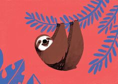 Sloth - mini art print, kawaii illustration of a brown sloth hanging from a persian blue tropical plant. Vermilion red background.