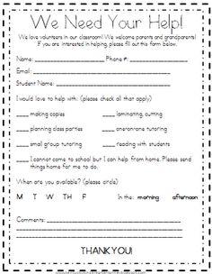 Kindergarten Korner: Search results for volunteers