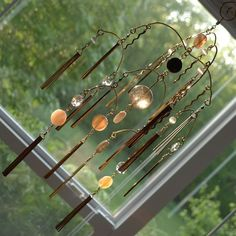 Your place to buy and sell all things handmade Wire Chandelier, Chandeliers, Wire Crafts, Decor Crafts, Glass Beads, Glass Crystal, Bead Art, Suncatchers, Wind Chimes