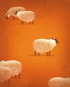 "Davide Bonazzi - Image for exhibition ""Identity"" @2lab, Catania, Italy 2016. Awarded by the Society of Illustrators 59th. #conceptual #editorial #illustration #people #society #identity #fingerprint #sheep #mass #davidebonazzi www.davidebonazzi.com"