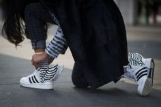 SHOP THE LOOK:  NYFW live: Adidas X Jeremy Scott  The Jeremy Scott x Adidas sneakers are a show-stealing piece!