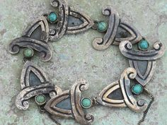 Vintage Mexican Taxco Bernice Goodspeed Sterling Silver Turquoise Bracelet | eBay