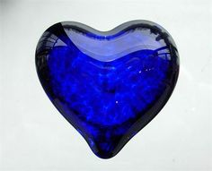 Glass Heart Paperweight in Cobalt Blue