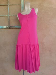 Vintage 1980s Dress Raspberry Pink Drop Waist US14 by bycinbyhand