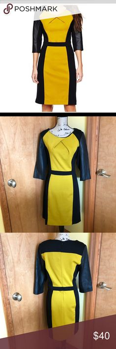 NWT Nicole by Nicole Miller Colorblock Dress Brand new with tags NWT Nicole by Nicole Miller Colorblock Dress Size Large   Faux leather sleeves  Color: Green and black   3/4 Sleeves Nicole by Nicole Miller Dresses Midi