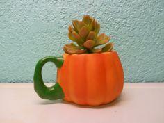 Vintage ceramic pumpkin planter mug by SouvenirAndSalvage on Etsy