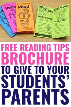 FREE Reading Tips Brochure - to Parents from Teachers - A Teachable Teacher, , Encourage parents to keep their kids reading over the summer. Send them off with this free reading tips brochure at the end of the year! FREE Help You. Reading At Home, Reading Tips, Reading Resources, Kids Reading, Reading Skills, Teaching Reading, Free Reading, Learning, Guided Reading