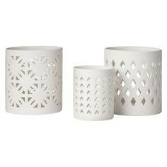 "Threshold™ Perforated Ceramic Candle Holder - Diamond 4"""