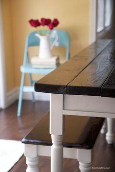 DIY farmhouse kitchen table on http://iheartnaptime.com