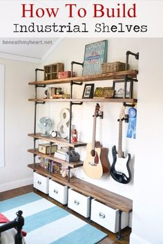 Industrial Shelves in Boys Room - Design Dazzle DIY! How to build Industrial Shelves in a Boys Room from Beneath my Heart! These shelves look so cool and are perfect for a teenage room! Decor, Furniture, Industrial Shelving, Interior, Home Diy, Diy Furniture, Shelving, Home Decor, Home Projects
