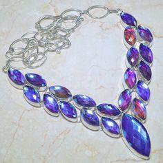 Brilliant Blue Rainbow Topaz Gemstone Necklace