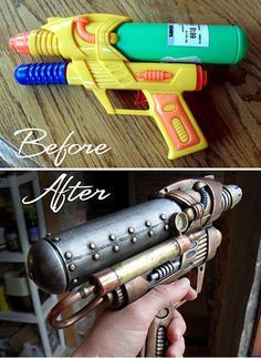 Cool! Steampunk super soaker DIY...LOVE this idea for a great Halloween costume idea too! Arma Steampunk, Costume Steampunk, Mode Steampunk, Steampunk Weapons, Steampunk Fashion, Steampunk Halloween, Fashion Goth, Steampunk Crafts, Gothic Steampunk