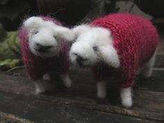 Needle felted sheep with sweaters