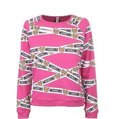 Moschino Moschino Bear Tape Print Sweatshirt ($230) ❤ liked on Polyvore featuring tops, hoodies, sweatshirts, slogan sweatshirts, drawstring top, cotton sweatshirts, jersey sweatshirt and print top