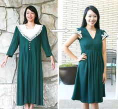 DIY: grandma vintage dress refashion #tutorial by @sarahtyau - dress found @TAGSThrift #thrift store // http://www.tagsthrift.com/ #utah