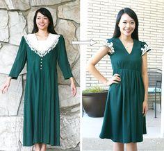 DIY: grandma vintage dress refashion #tutorial by @sarahtyau - dress found @TAGSThrift #thrift store // http://www.tagsthrift.com/ #utah