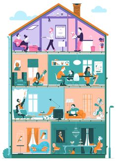 House Illustration, People Illustration, Line Illustration, Graphic Design Illustration, Digital Illustration, Infographic Examples, Caricature Artist, Environmental Art, Illustrators