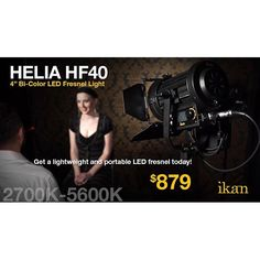 The Helia Bi-Color LED light offers the flexibility of color temperatures ranging from 2700K to 5600K for any shooting situation. The 4-inch Fresnel lens can focus from 60-degree flood to 15-degree spot. With a high CRI and TLCI, the Helia gives shooters