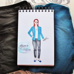 Outfit of the day styled by @stitchfix: Nicole Liverpool Jeans and Skies are Blue Bonny Open Cardigan Done by Alexa's Illustrations using copic markers alexasillustrations