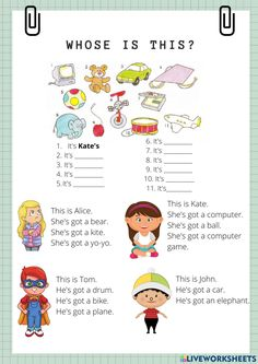 English Worksheets For Kids, 2nd Grade Worksheets, English Activities, English Class, Teaching English, Learn English, School Subjects, English Vocabulary, Primary School