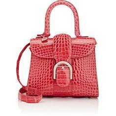 Delvaux Women's Brillant Crocodile Mini-Satchel ($22,800) ❤ liked on Polyvore featuring bags, handbags, pink, red purse, mini satchel, travel handbags, croc handbags and mini handbags