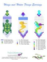 Wings & Water Fringe Earrings Bead Graph : Beading Patterns and kits by Dragon!, The art of beading.