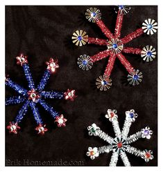 Easy 4th of July decorations - pipecleaner and sequin fireworks