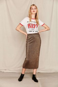 Vintage Lurex Gold Long Skirt - Urban Outfitters
