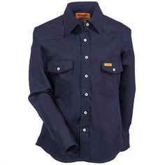 74b7b74d Wrangler Shirts: Women's Navy FRLW03 N Flame Resistant Western Shirt