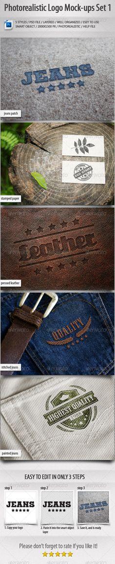 5 Photorealistic Logo Mock-Ups Set 1 - Logo Product Mock-Ups
