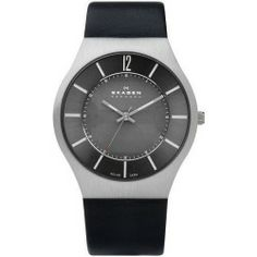Buy Skagen Solar Black Leather Mens Watch 833XLSLB online - This sleek black-on-black watch by Skagen Denmark draws its power from the sun. Black leather strap and round stainless steel case. Black dial. Solar-powered movement. Water resistant to 30...