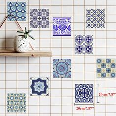 25Pcs Self Adhesive Bohemia Simulation Ceramic Tiles DIY Kitchen Bathroom Wall Decal Sticker is Solid-NewChic Mobile
