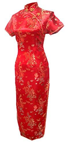 7Fairy Women's Vtg Red Long Chinese Wedding Evening Dress Cheongsam - 18 Plus
