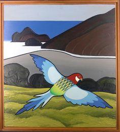 Brightly coloured Rosella parrot (Platycercus eximius) flying over the scrub and ironsand of Te Henga (Bethells Beach) in the Waitakere Ranges, Auckland. New Zealand Landscape, New Zealand Art, Nz Art, Maori Art, Cowboy Art, Naive Art, Wildlife Art, Bird Prints, Art Gallery