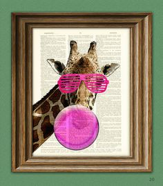sharona the 80's giraffe blowing pink bubblegum bubble shuttered sunglasses illustration beautifully upcycled dictionary page book art print. $7.99, via etsy.