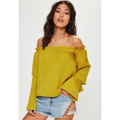 Missguided Yellow Tiered Sleeve Bardot Blouse ($23) ❤ liked on Polyvore featuring tops, blouses, yellow, tiered top, yellow blouse, sleeve top, relaxed fit tops and yellow top