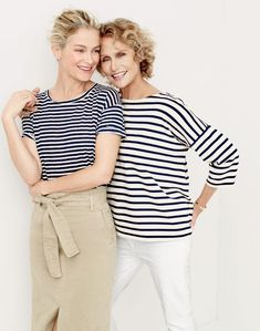 J.Crew women's relaxed linen T-shirt in stripe and washed cotton skirt. J.Crew women's oversized drop-sleeve striped T-shirt and matchstick jean in white.