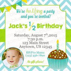 june sale half birthday invitation boy 6 month birthday