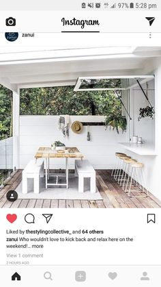 Outdoor Rooms, Outdoor Decor, Home Exterior Makeover, Backyard Bar, Splashback, Apartment Kitchen, Great Rooms, Relax, Dining Table