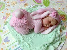 Baby Bunny Cake Topper/Fondant CakeTopper/Fondant Baby/ baby Bunny/  cupcake topper/Easter Toppers
