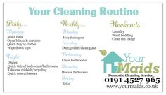 Your Cleaning Routine  Daily/Weekly/Monthly  www.yourmaids.co.uk
