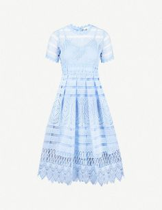 MAJE - Embroidered lace dress   Selfridges.com Lace Embroidery, Embroidered Lace, Knee Length Dresses, Short Sleeve Dresses, Frock Design, Maje, Frocks, Parisian, Lace Dress