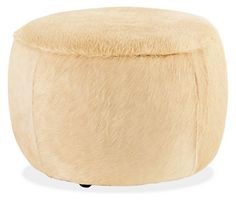 Lind Cowhide Round Ottomans - Cocktail Tables - Living - Room & Board, OFFICE ottoman/coffee table