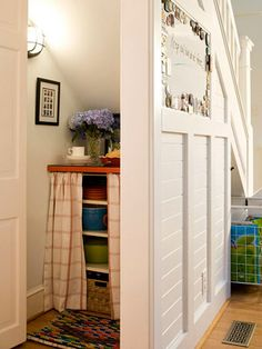 creative storage for small space (under a stair or eve)