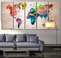 World map canvas wall painting home decor vintage large canvas print oversized canvas art prints world map canvas art print large wall art world map art watercolor world map print for wall decoration mc187 gumiabroncs Images