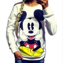 2016 Mode Nouveau Européenne Mickey impression Sweat Hoodies Manches Longues lâche femmes Ras Du Cou taille S-XL vente Chaude 2016(China (Mainland))